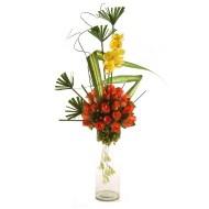Cilindro de rosas y orquídeas